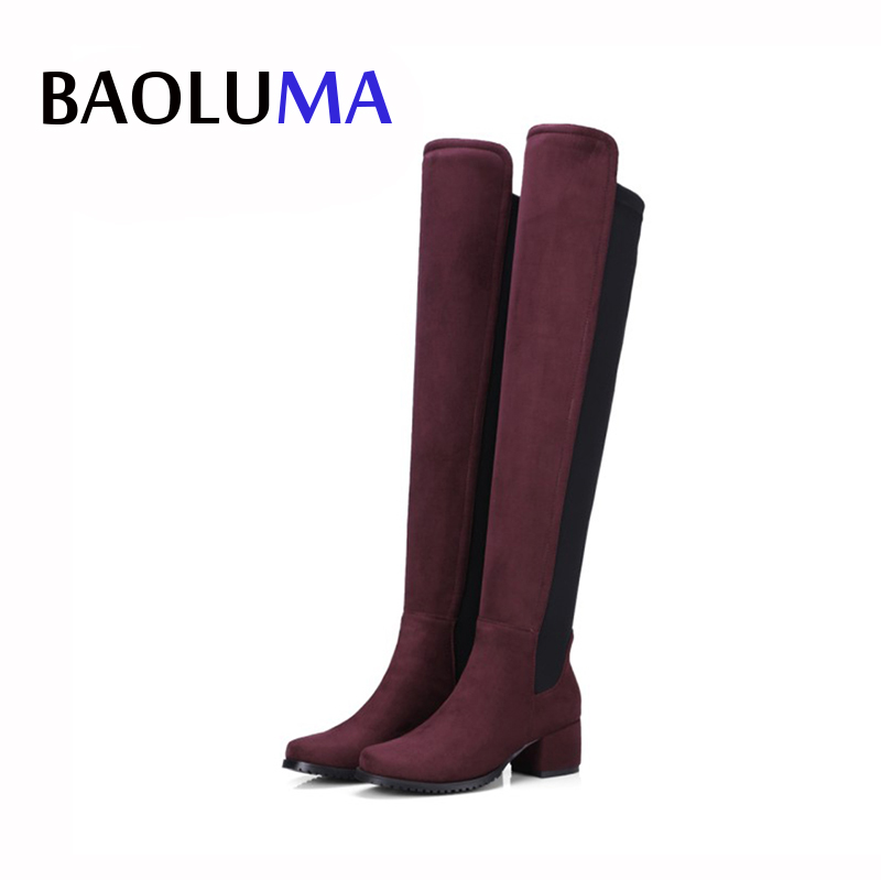 Hot Large Size 34-43 Women Long Boots Stretch Faux Suede Over The Knee Boots Thigh High Sexy Boots Shoes Femme Platform Boots