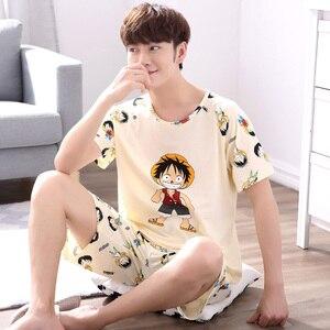 Image 2 - Мужская пижама с короткими рукавами Yidanna, Хлопковая пижама с принтом в виде фигуры, Повседневная Ночная рубашка для отдыха на лето