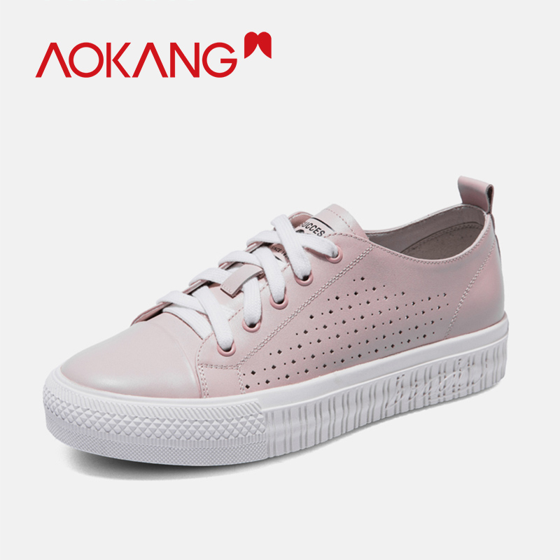 AOKANG 2019 Casual shoes woman genuine leather summer women shoes comfortable breathable flat casual shoes leather