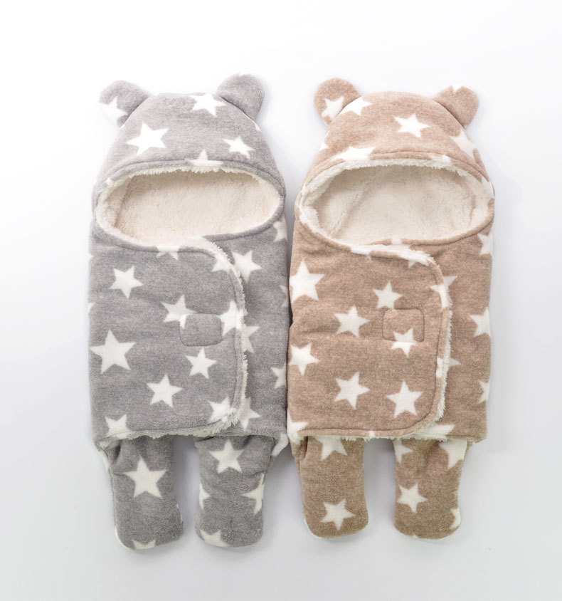 Newborn Sleepsacks Winter for Stroller Heavy Baby Swaddle Blanket With Star White Fleece Baby Sleeping Bag