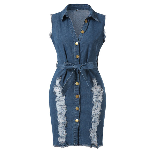 JAYCOSIN 2019 New Summer Women Dress Plus Size Sexy Sheath Button Down Denim Sashes Sleeveless Jeans Turn-down Sundress 903286