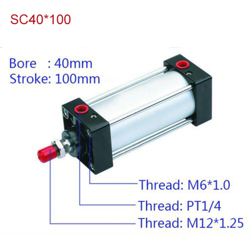 SC40*100 Free shipping Standard air cylinders valve 40mm bore 100mm stroke SC40*100 single rod double acting pneumatic cylinder цена