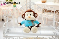 Stuffed Toy Large 65cm Cartoon Brown Monkey Plush Toy With Blue Cloth Soft Doll Throw Pillow