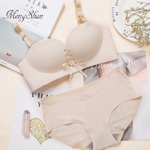 New Bra Suit with Lattice Tie Comfortable seamless gathering One piece steel bracket Womens bra push up  85A 85B 85C