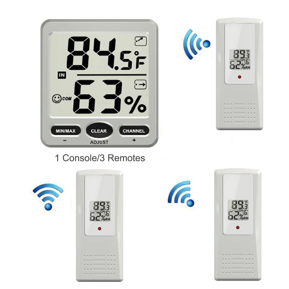 8-Channel Wireless Weather Station Indoor Outdoor LCD Digital Thermometer Hygrometer with 3 Remote Sensor dc803 4 lcd digital indoor