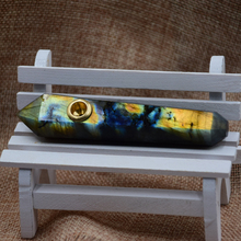 100 mm natural quartz crystal carving labradorite wands smoking pipe fashion and personality