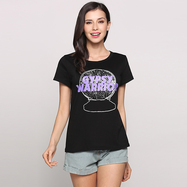 Women Summer Tops Gypsy Warrior Letter Printed Short Sleeve Round Neck Casual Black Pullover T-Shirt Tops