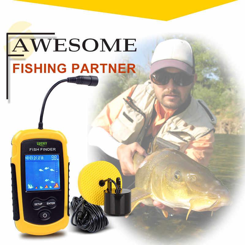 FORTUNATO Portatile Fish Finder Ecoscandaglio 100M Sonar LCD Echo Sounders ecoscandaglio Fishfinder per la pesca in Russo FFC1108-1
