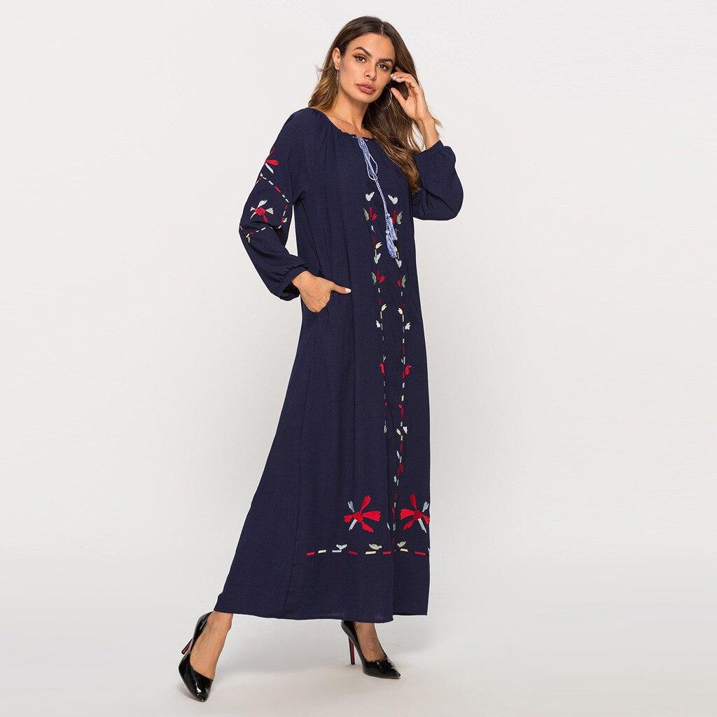 2019 fashion muslim dress for women dress Women Muslim Printing Long Sleeve Arab Dress Islam Jilbab abaya dubai bangladesh Dress