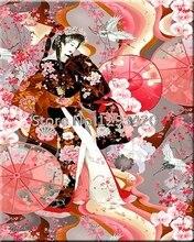 5D Diy Diamond Painting Full Cross Stitch Embroidery Japanese woman Rhinestones Crystal Mosaic Decoration Home