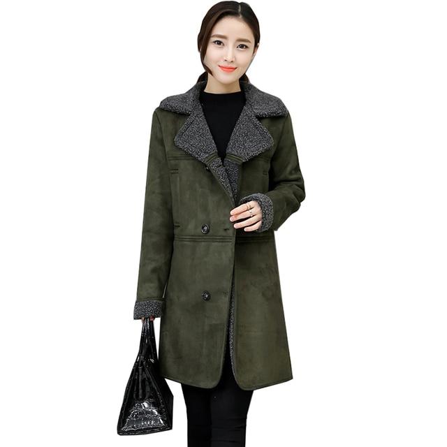 € 55.86 |Femmes Vintage Cachemire Manteau Coton Rembourré Longue Veste Classique En Daim Femme Double Breasted Pardessus Survêtement Vert dans Laine