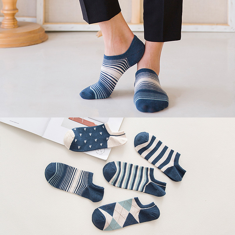 Spring And Autumn New Men's Cotton Short Striped Socks Fashion Jacquard Male Socks