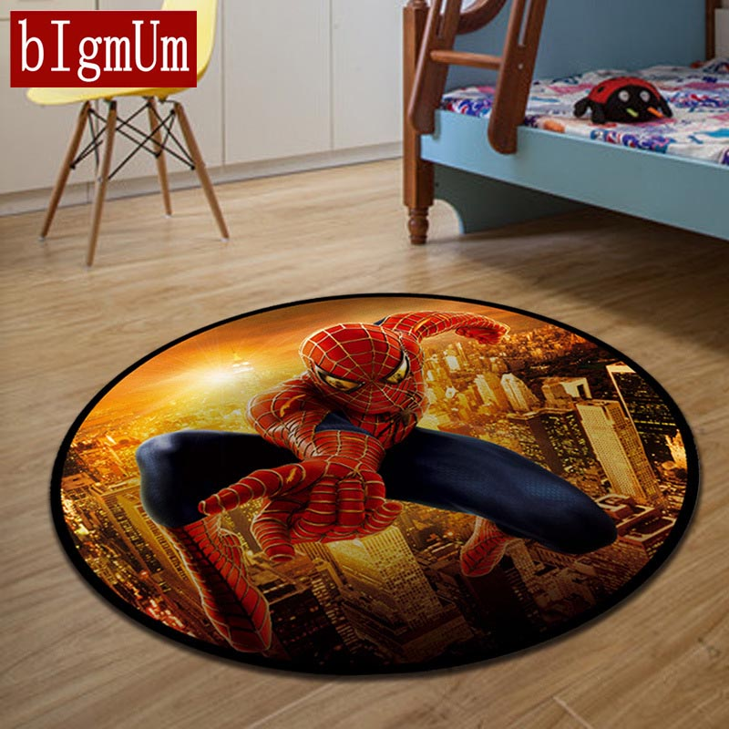 Round Carpets for Living Room Jacquard Slip Absorbent Floor Rug 3D Spider Man/Floral/Hello Kitty Print Comfortable Bedroom Mat