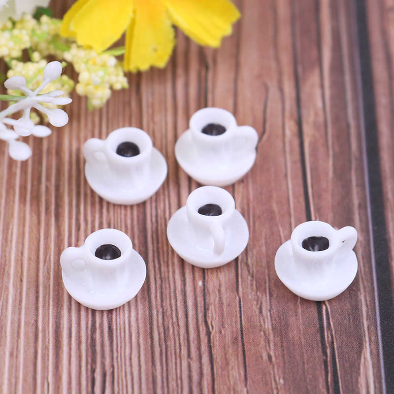 5Pcs Dollhouse Miniature Coffee Cup For Kitchen Room Food Drink Home Tableware Decors Kitchen Doll Accessories