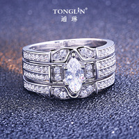 TONGLiN Romantic Wide Wedding Rings Jewelry 3 In 1 Cubic Zirconia Ring Set for Women Men 925 Sterling Silver Rings Accessories