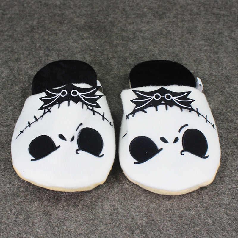 26 centímetros O Pesadelo Antes Do Natal Jack Skellington Chinelo De Pelúcia Quente Sapatos Fechados em Casa para Adultos