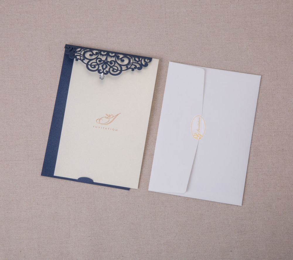 50PCS Navy Blue Laser Cut Wedding Invitations Cards with Rhinestone ...