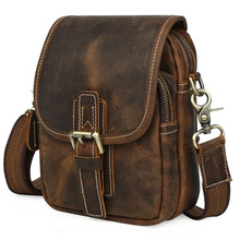 2017 Handmade 100% Genuine Leather Small Satchel For Cell Phone Mini Shoulder Bag Purse Crazy Horse Leather Cool Wild Style 3006