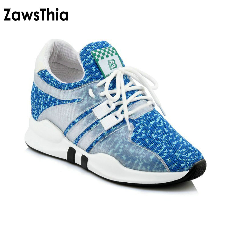 ZawsThia 2018 summer blue pink black air mesh breathable lace up outdoor woman shoes women sneakers shoes plus size 42 43 44 45 pinsen fashion women shoes summer breathable lace up casual shoes big size 35 42 light comfort light weight air mesh women flats