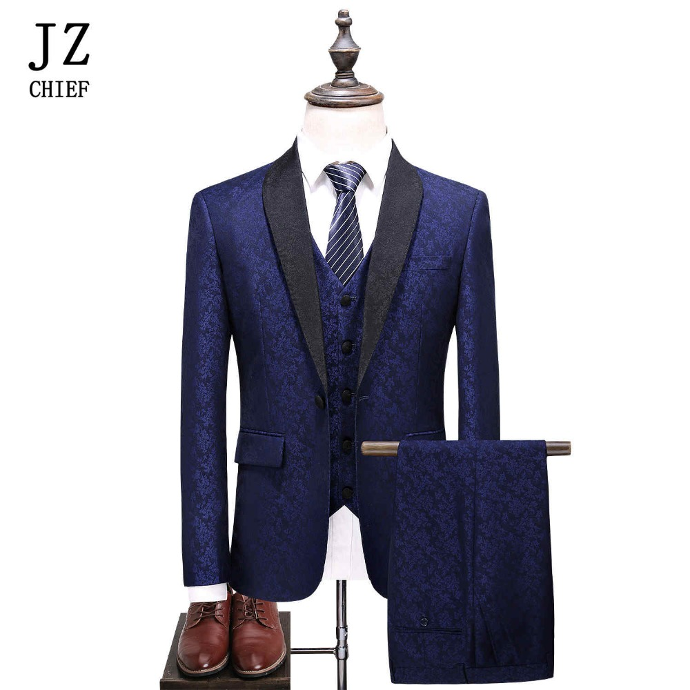 JZ CHIEF Man Wedding Suit Tuxedo 3pieces Print Floral Shawl Lapel One Button British Style Navy Blue Party Prom Suits Large Size