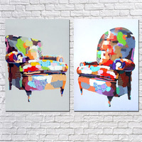 High Quality combination of modern mural No Frame Colored chair Oil Paintings on Canvas 2pcs home Decoration Wall Art Paints