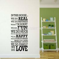 引用ハウスルール壁デカールリアル楽しい幸せな愛ビニールレタリングステッカーホームインテリア用