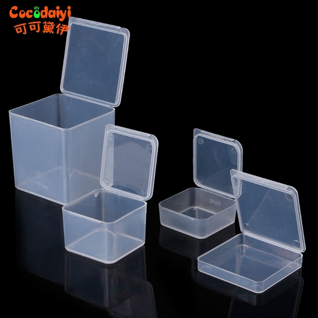Small Square Clear Plastic Jewelry Storage Boxes Beads