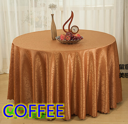 Coffee jacquard round table cloth decoration,damask pattern table cover for wedding,hotel and restaurant round tables decoration