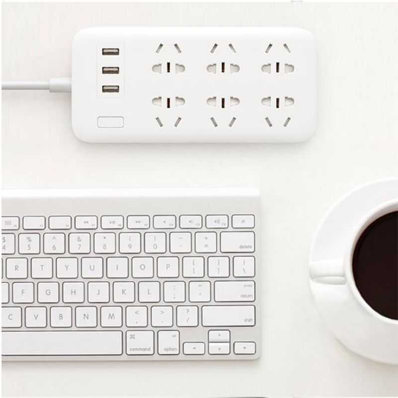 XiaoMi Mi Smart Power Strip 6 Ports with 3 USB Fast Charging 2.1A USB Power Plug Charger Socket US UK EU AU Power strip H15 (22)