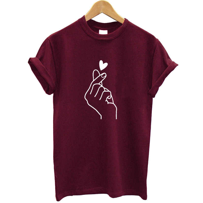 New Arrival Women T Shirt Graphic Love Hand Funny Summer Tops Plus Size Tee Shirt Femme Hipster Clothes Streetwear Tshirt Brand