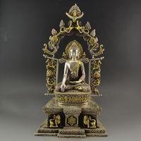 Античные скульптуры коллекция из латуни, Посеребренная медь статуи Будды непальских Будды тибетский Будда украшения