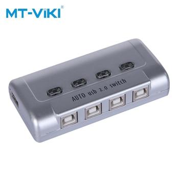цена на MT-VIKI USB PRINTER SWITCH 4-port USB 2.0 Printer sharer automatic plastic box compatible with all USB devices HUB MT-SW241-CH