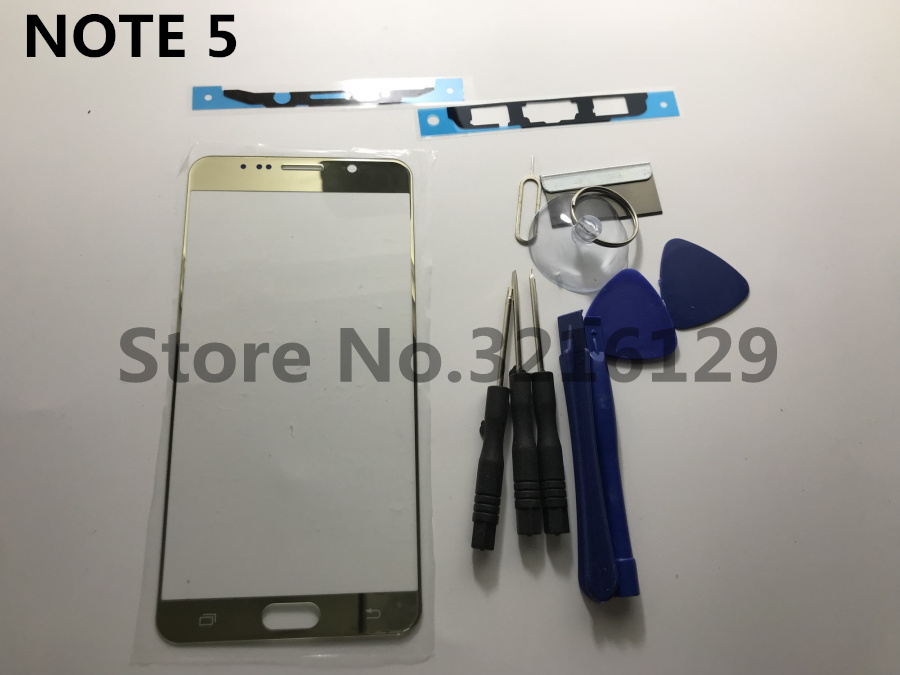 gold/white/blue Front Outer Glass Lens replacement for Samsung Galaxy note 5 N920 N920F LCD touch screen+ Adhesive