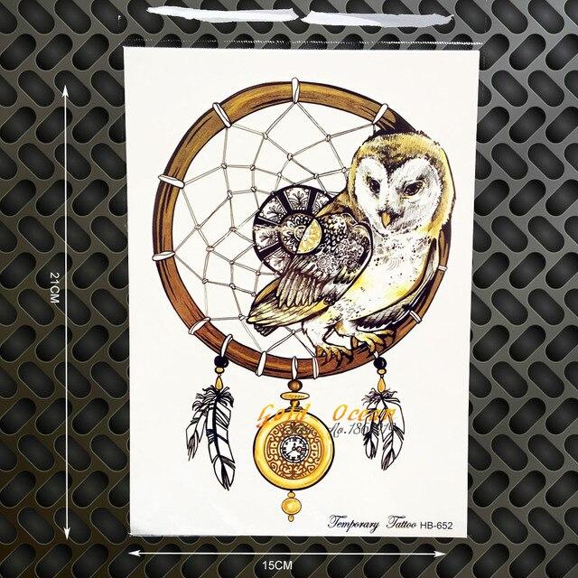 3D DIY Temporary Flash Tattoo Owl Compass Design Waterproof Fake