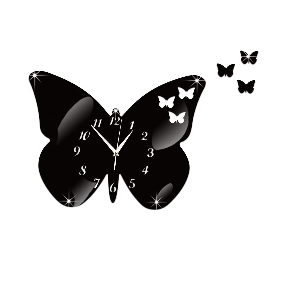 #S DIY Creative Can Remove The Decorative Clock Butterfly Princess Mirror Clock Silent Clock