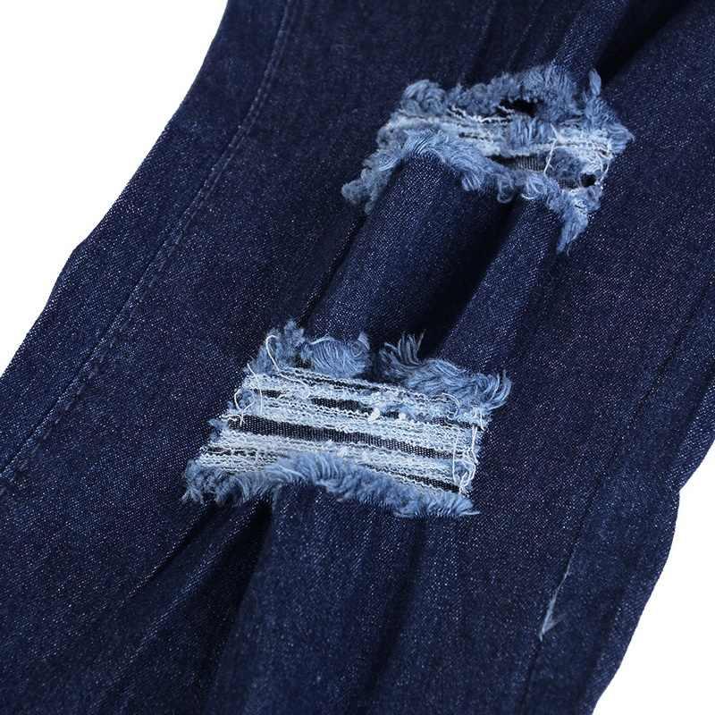 abbdcdd024 ... NIBESSER Skinny Jeans azul hombres otoño Denim Vintage lápiz Pantalones  Casual pantalones 2018 Sexy agujero RIP