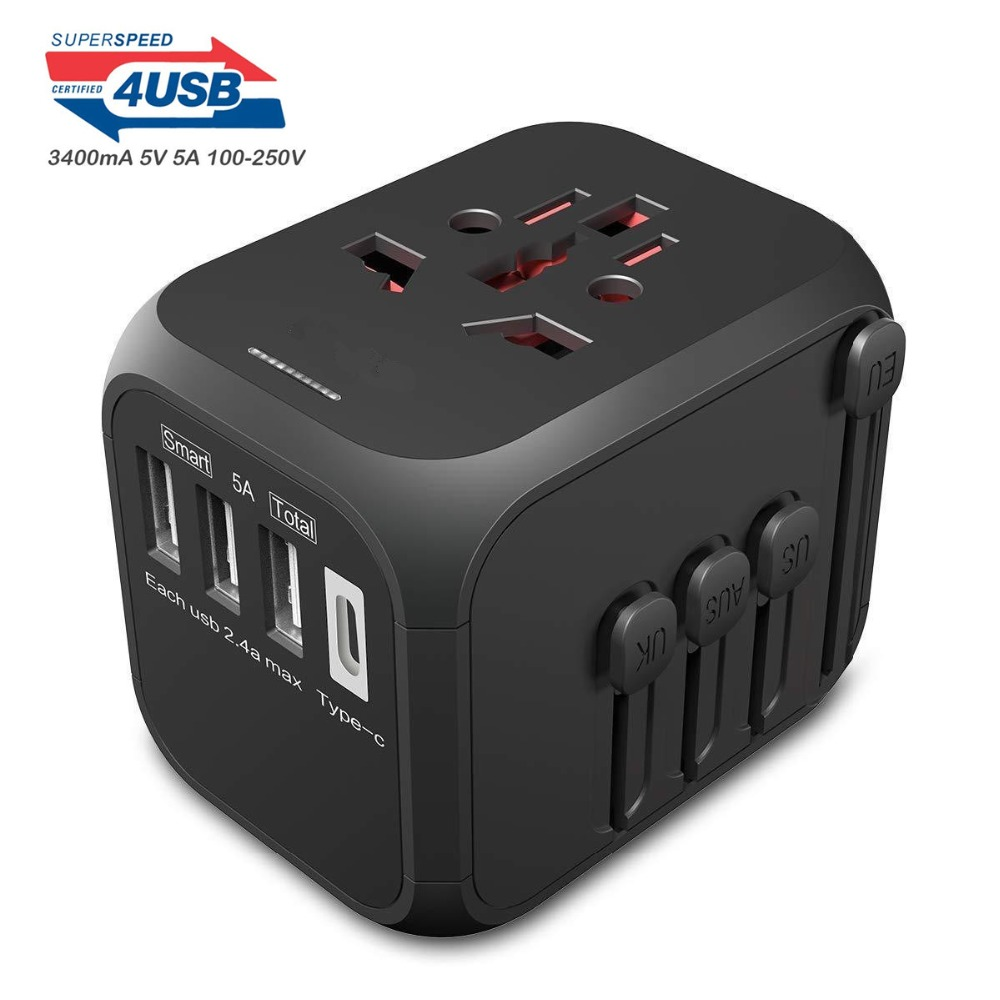International Travel Adapter Auto Resetting Fuse baby safe design 5A 3 USB + 1typc c Worldwide Wall Charger for UK/EU/AU/AsiaInternational Travel Adapter Auto Resetting Fuse baby safe design 5A 3 USB + 1typc c Worldwide Wall Charger for UK/EU/AU/Asia
