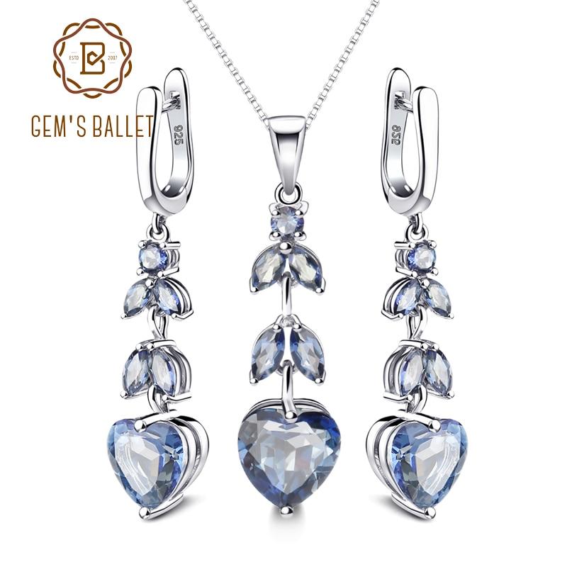 GEM S BALLET Natural Iolite Mystic Quartz Gemstone Jewelry Set 925 Sterling Silver Pendant Earrings Set