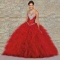 2016 Bola Vermelha Vestido De Baile Vestidos Quinceanera Para Meninas 15 Anos Vestidos de Festa De 15 Años sweet 16 vestidos de baile