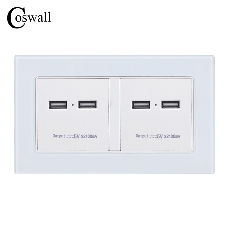 COSWALL Wall Socket 4 USB Smart Induction Charge Port For Mobile 5V 4.2A Output LED Indicator Crystal Tempered Glass Panel coswall wall power socket dual usb smart induction charging port for mobile 5v 2 1a output led indicator stainless steel panel