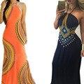 2016 Рукавов С Открытой Спиной Печатных Вырез Дизайн Холтер Шеи Макси Лето Dress For Women