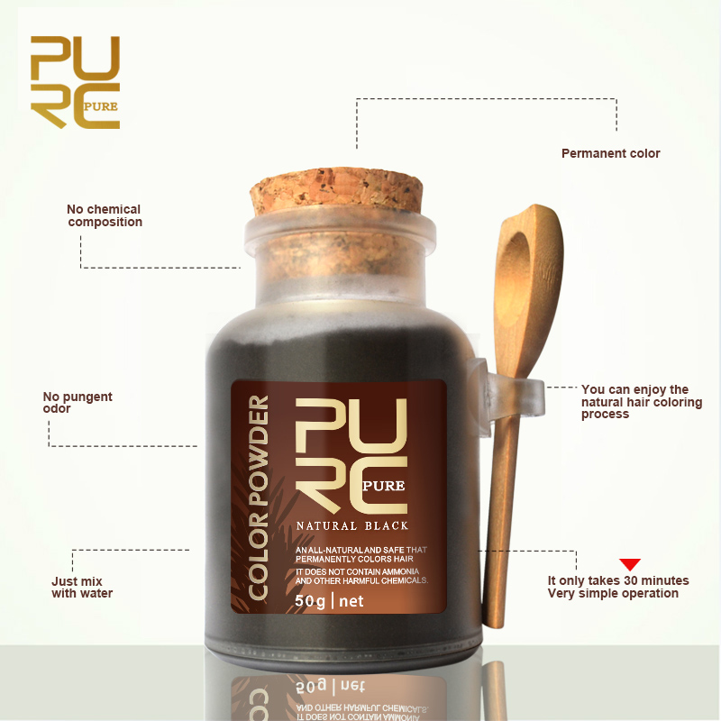 PURC Pure natural Chinese Herbal Ingredients Hair Color Powder  Without Chemical Additives Hair Color Dye 50g Color Permanent