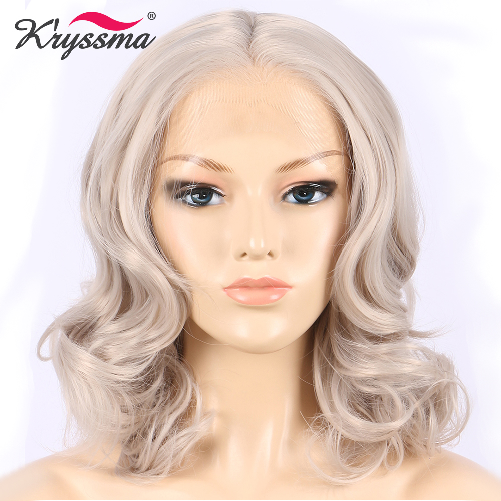 Ash Grey Short Wavy Wig Bob Synthetic Lace Front Wig for White Women Light Blonde Middle Part Glueless Heat Resistant Fiber