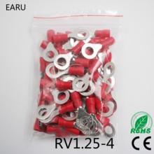 RV1.25-4 изолированный провод с красным кольцом, Электрический обжимной терминал, RV1.25-4, кабель, провод, разъем, 100 шт., RV1-4 RV