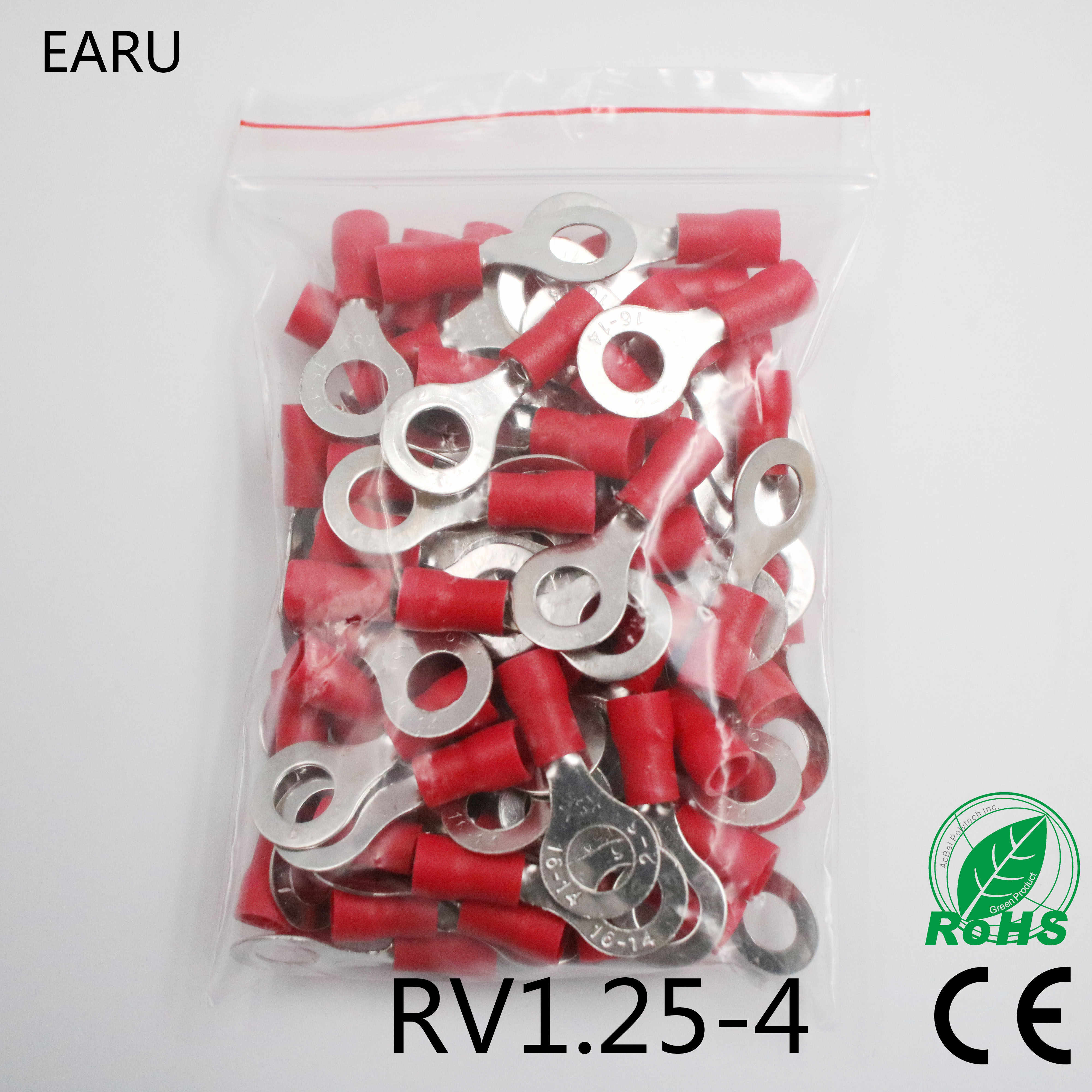 RV1.25-4 Red Ring Insulated Wire Connector Electrical Crimp Terminal RV1.25-4 Cable Wire Connector 100PCS RV1-4 RV