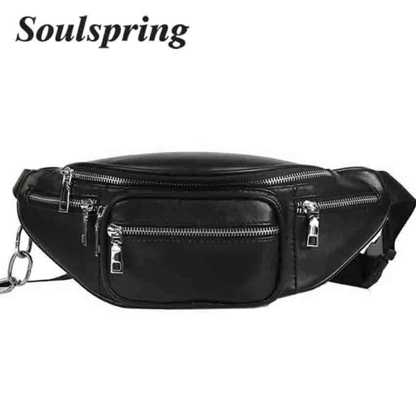 Chain Bags Fanny Pack Heuptas Waist Women Belt Bag Men Fashion Wallet PU Leather Belt Bag Waist Pack Purse Bags For Women 2018