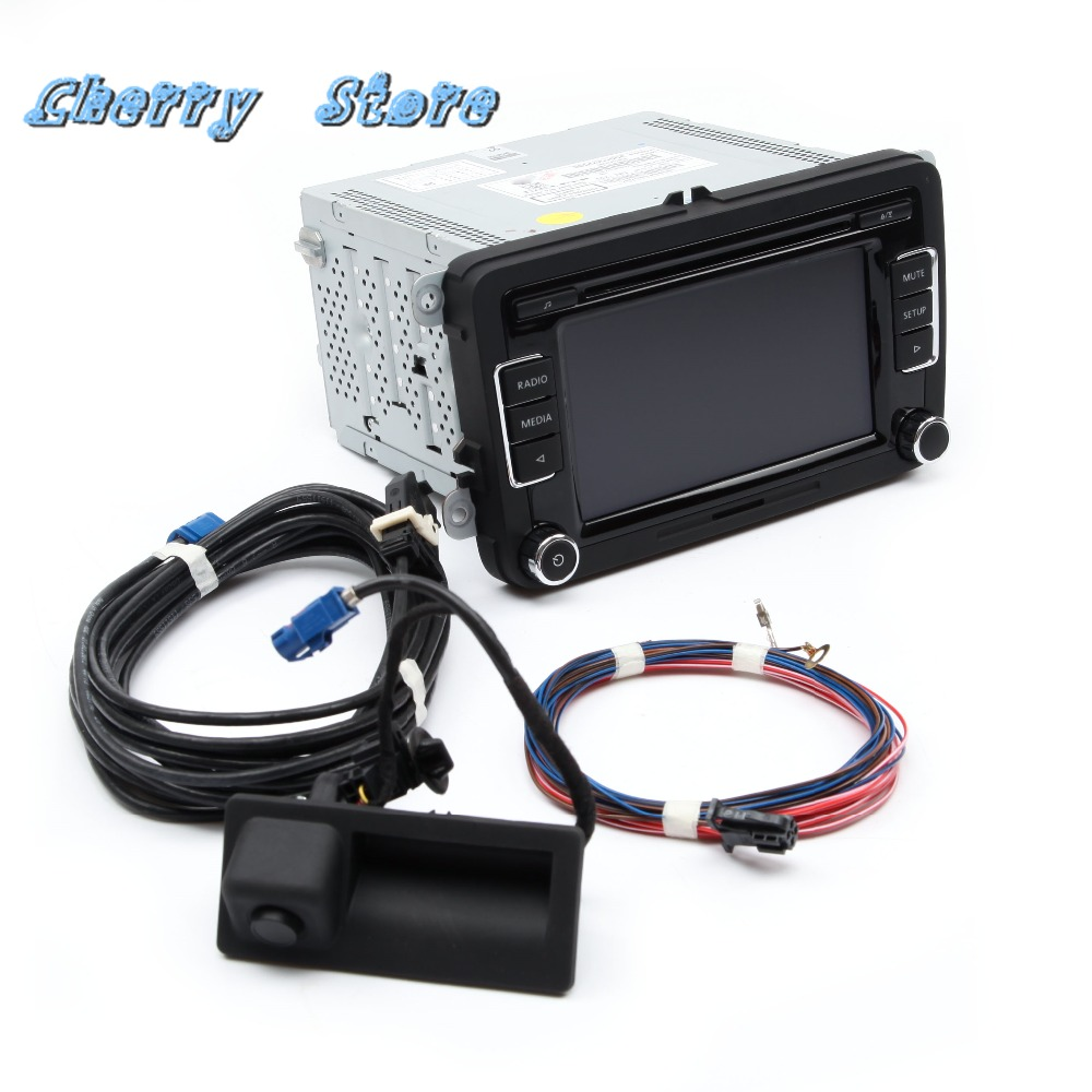 NEW 56D 035 190 A RCD510 Car Radio RGB Rear View Camera Harness Kit For VW Golf Passat Support OPS Rear View Camera Bluetooth