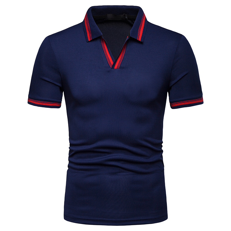 Dropping Modis Clothes Male   Polos   Casual V-Neck Short Sleeve   Polo   Shirt Men Streetwear
