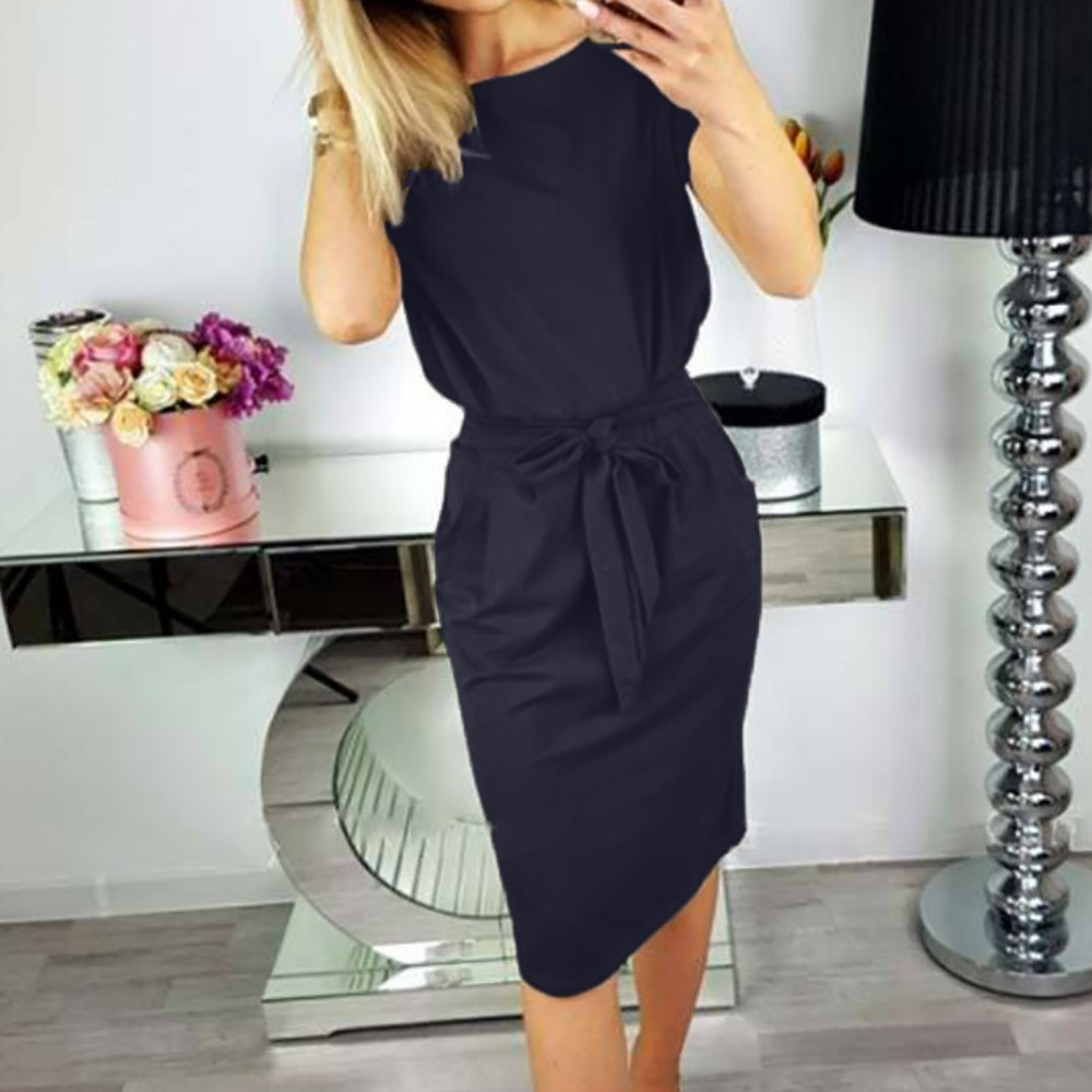 Womens Dress Casual Pocket Summer Ladies Short Sleeve Evening Party Mini Dress Streetwear Dresses Vestidos De Fiesta