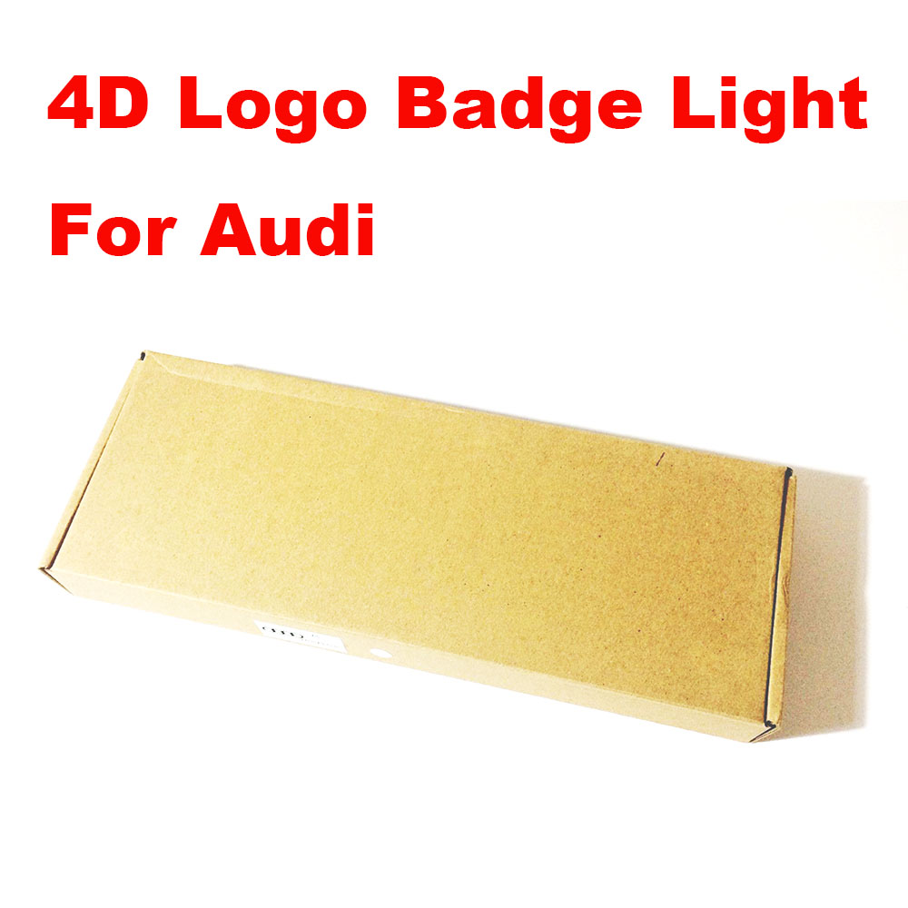 4D Front/Rear badge emblem Logo light Sticker For AUDI Q5 Q3 A1 A3 A4L A5 A6 A8 27cmx9.5cm 18cmx5.8cm White/Red/Blue
